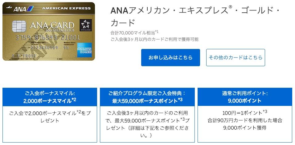 ANA AMEX GOLD紹介特典